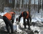 Работники дорожных служб отмывают столбики
